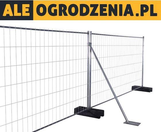 Tymczasowe ogrodzenie budowlane = panel + stopa betonowa + obejma