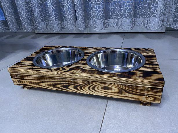 Stojak na miski dla psa/kota z drewna z miskami