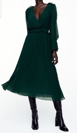 Vestido verde  zara
