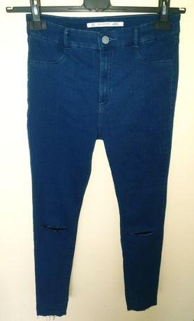 ZARA rurki jeansy jeans spodnie dziury wysoki stan 40L