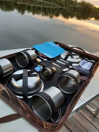 Набор для пикника на 4 и 6 персон, набор туристической посуды, сумка.