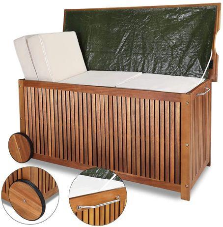 skrzynia kufer kosz na kółkach z drewna akacjowego, lite drzewo akacji