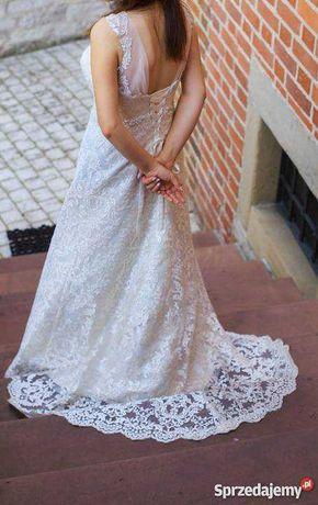 Śmietankowa/Ivory Suknia ślubna + welon gratis