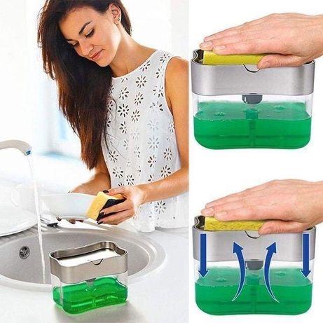 Диспенсер дозатор для моющего средства Контейнер с губкой для кухни Sp