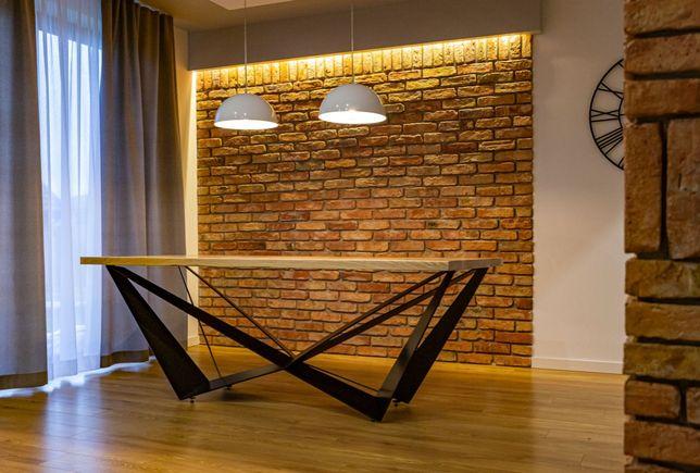 Stół loft stare drewno blat dębowy nogi stalowe manufaktura industrial