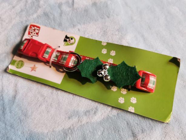 Obroża czerwona świąteczna dla psa