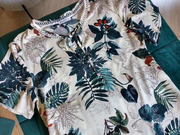 Nowa piękna delikatna bluzka damska r. L-XXL dwa kolory piękna liście