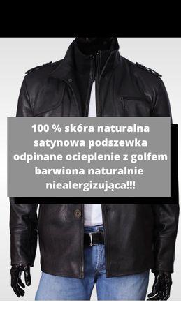 Czarna kurtka męska naturalna skóra skórzana Dorjan TRS950 rozmiar L