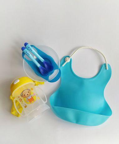 Посуд для дітей, тарілка, нагрудник, слюнявчик, поїльник