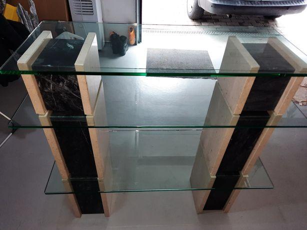 Consola  em pedra mármore  3 vidro grosso