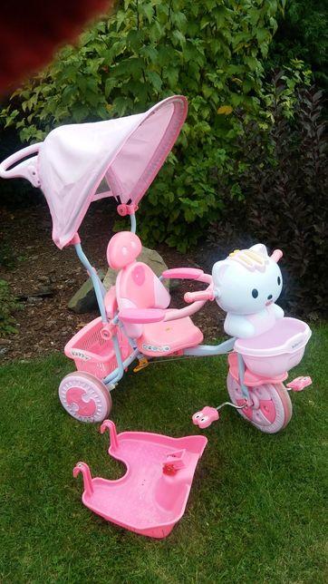 Pchacz rowerek trójkołowy Hello Kitty różowy