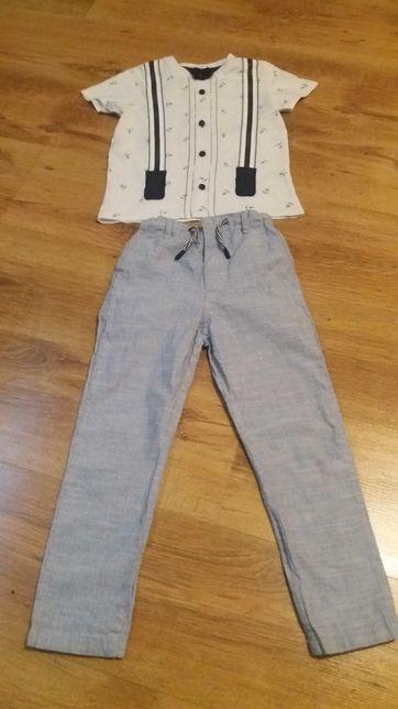 Eleganckie spodnie chłopięce + koszulka rozm 110 cm