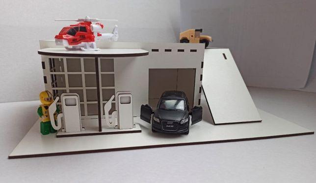 Детская заправка Парковка для машинок, Детский гараж парковка с АЗС