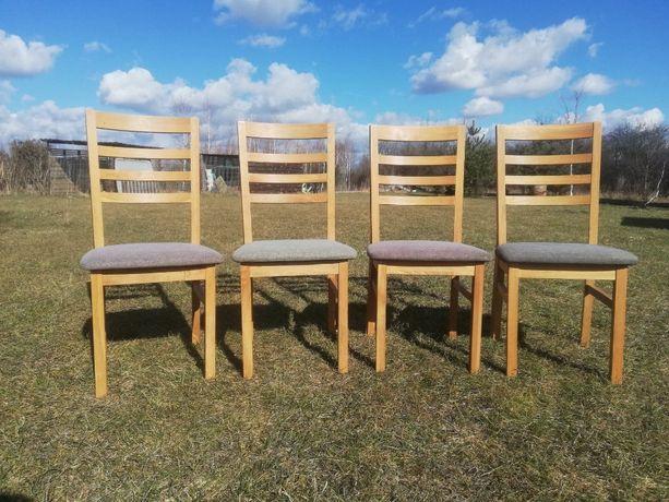 Krzesła drewniane dębowe siedzisko tapicerowane 4sztuki