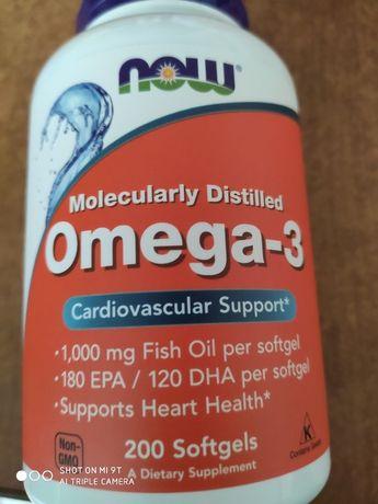 Omega 3 Now Foods, омега 3, 200 мягких желатиновых капсул, США