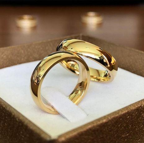 Ponadczasowa Para Złotych Gładkich Obrączek Ślubnych