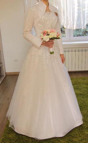 Suknia ślubna z kryształkami Swarovskiego +rękawiczki i bolerko gratis
