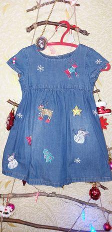 Новогоднее джинсовое платье Next 12-18 мес.
