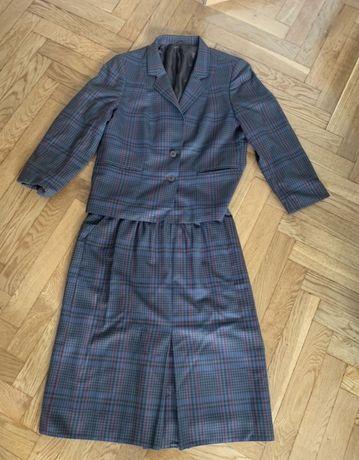 Wełniana garsonka żakiet spódnica wełniany komplet rozmiar 44 46 42