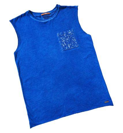 Boss Orange_niebieski t-shirt z kieszonką_rozmiar S/M/L