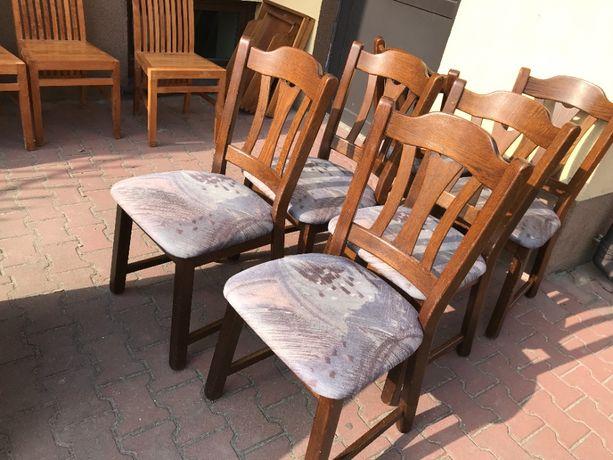 Krzesła 6 Krzeseł dębowe drewniane tapicerowane komplet DOWÓZ