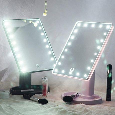 Зеркало косметическое для макияжа настольное с LED подсветкой