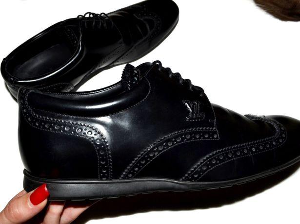 Louis Vuitton оригинал кожаные черные туфли 41р.