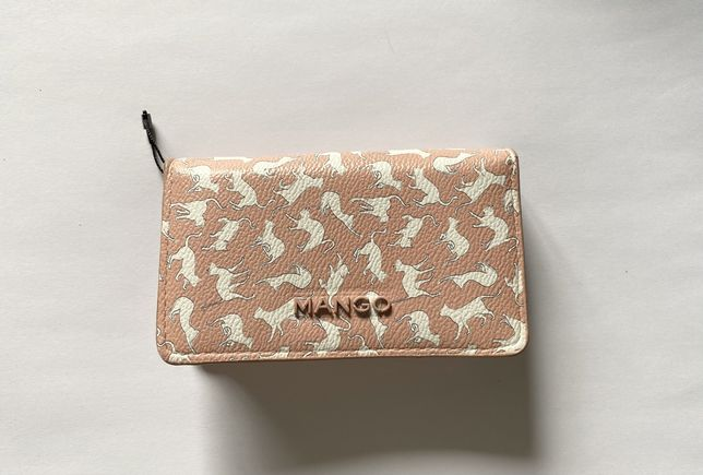 Mango portfel w koty portmonetka portfelik kotki Nude