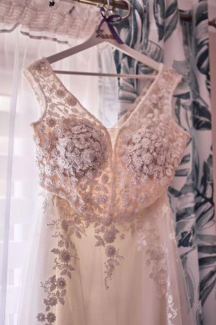 Suknia ślubna śmietanka Ivory tiul koronka 40 42 44