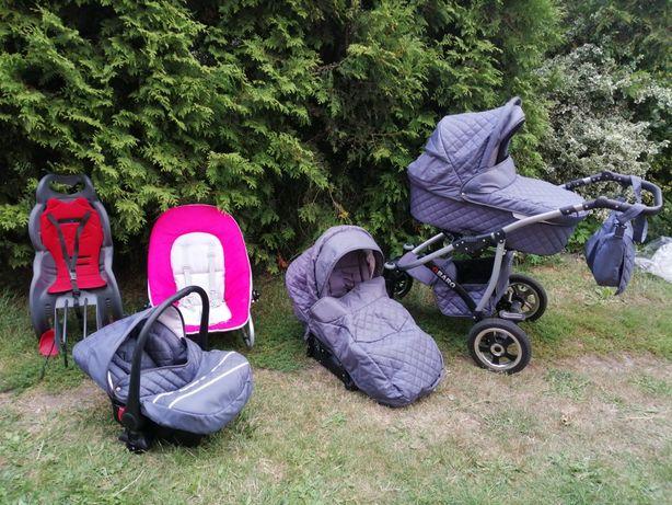 Wózek Qbaro 3 w 1 +fotelik na rower i leżaczek Bujaczek Całość 450