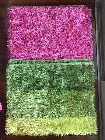Conjunto de 3 tapetes (2 verdes e 1 cor-de-rosa)