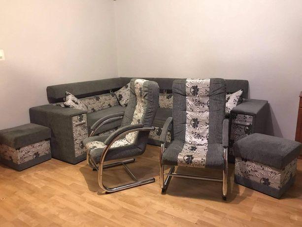 Zestaw Wypoczynkowy  2 Pufy 2 Fotele