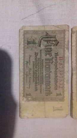 Денежная купюра 1 рентенмарка 1923 г.