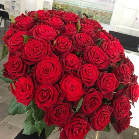 Розы. Доставка цветов. Шикарный букет 45 роз. Цветы Днепр, подарок