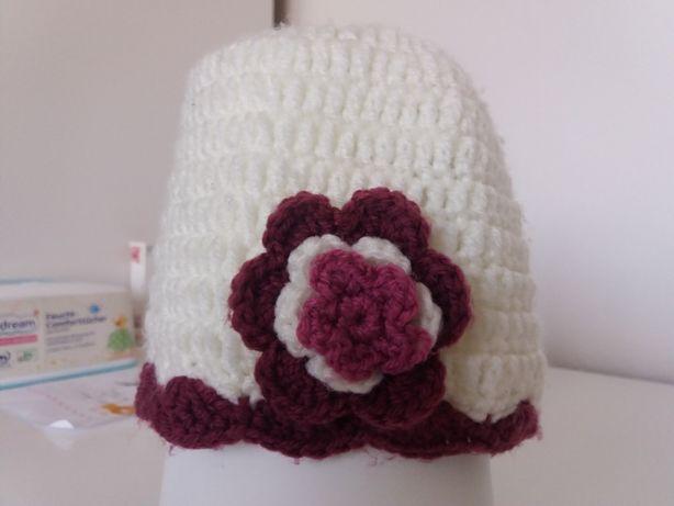 czapka, ręcznie robiona na szydełku, roz 48