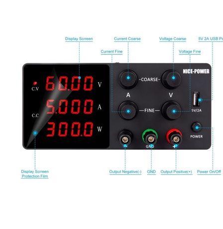 Fonte alimentação de bancada de 30v-10A  watts USB 4 digitos