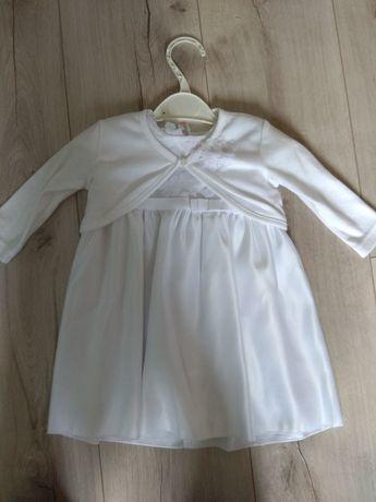 Komplet do chrztu: sukienka, bolerko, opaska Cocodrillo, rozm 68