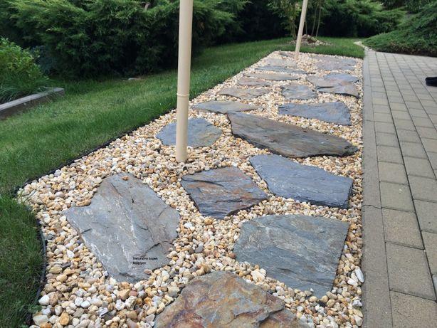 łupek szarogłazowy na ścieżki w ogrodzie, kamień na kaskady wodne