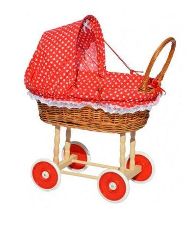 Wózek dla lalek wiklinowy Mikołaj  Święta prezent
