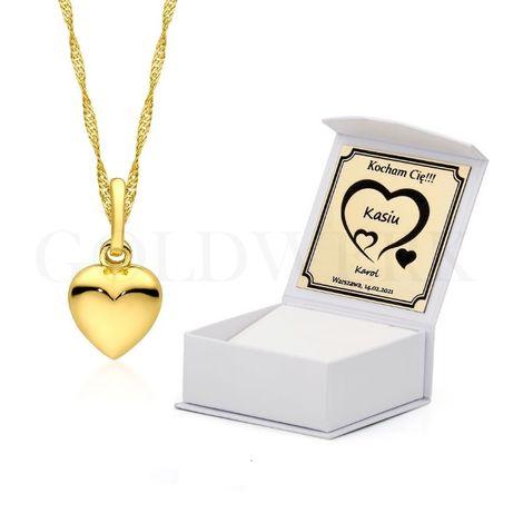 GRAWER Walentynki Złoty Łańcuszek Naszyjnik 333 Serce Złote Serduszko