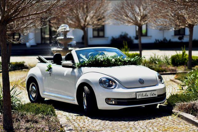 Auto do ślubu Kabriolet Samochód ślub cabrio białe retro boho Beetle