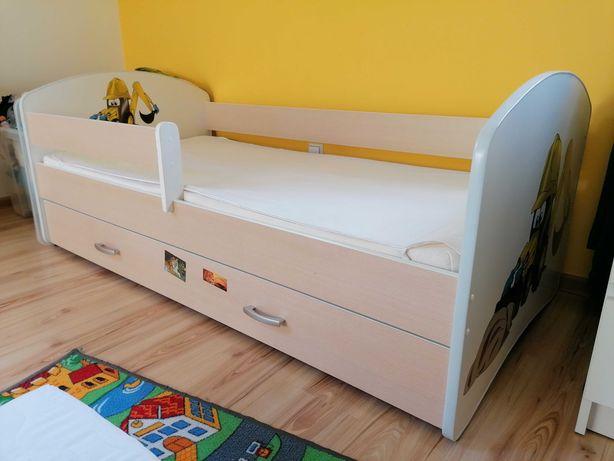 Łóżko dziecięce koparką, z materacem