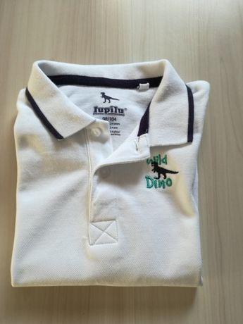 Biała bluzka polo z kołnierzykiem-nowa!