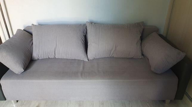 Sofa tapczan kanapa rozkładana jasny szary skrzynia wersalka lóżko