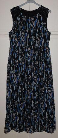 długa letnia sukienka koronkowe wstawki roz. XL