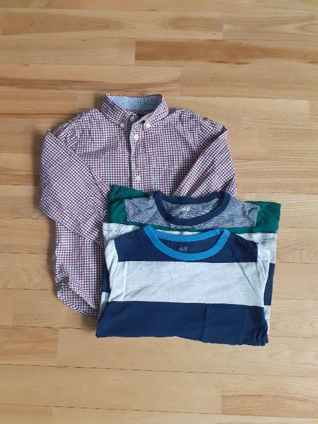 Koszula w kratkę+ dwie bluzki H&M w roz.110
