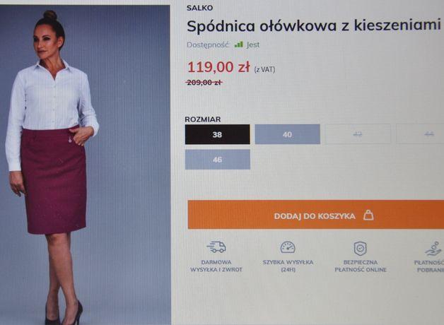 NOWA spódnica Salko R.36 ołówkowa spódniczka z kieszeniami kolor khaki