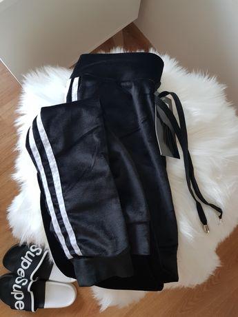 Spodnie dresowe dresy damskie czarne z białymi lampasami wysoki stan S
