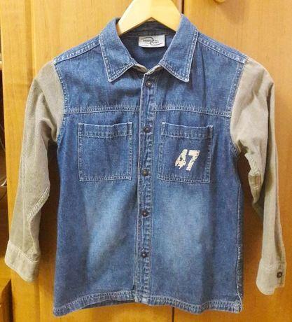 Сорочка джинсова (Рубашка джинсовая) для хлопчика, 134-140