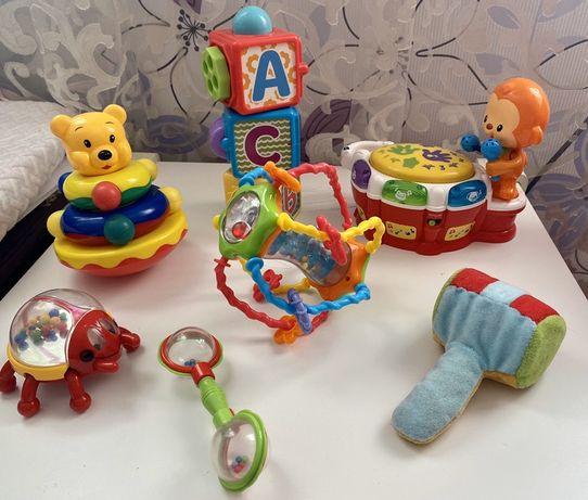 Игрушки canpol babies, vtech, fisher price кубики, барабан, гантель